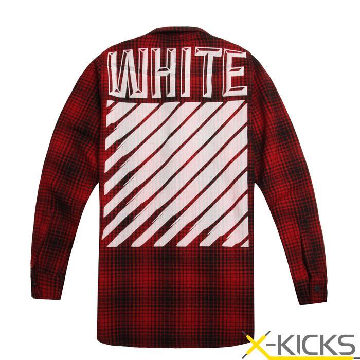 off white 加厚羊毛红格子条纹衬衫