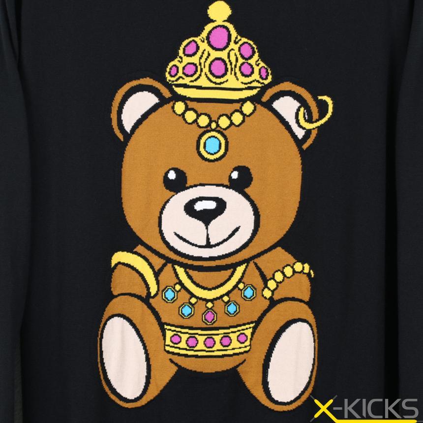 moschino 莫斯奇诺 2017新款 皇冠小熊 舒适中长款女士针织衫