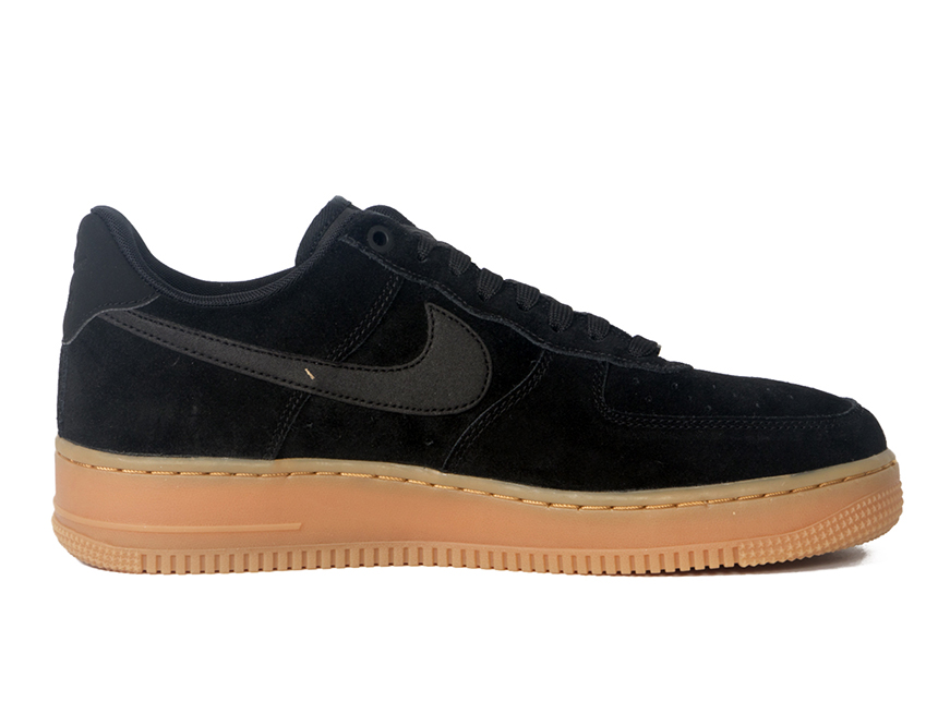 Nike Air Force 1 AF1 麂皮男子休闲鞋 黑色 特价