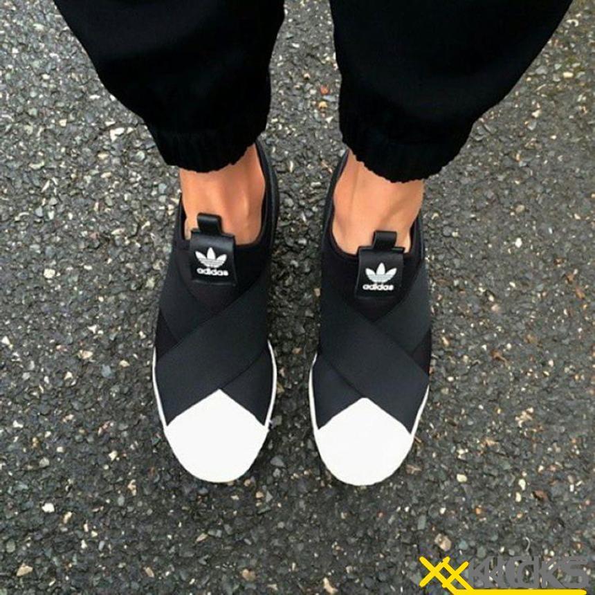 Adidas Superstar Slip On 绑带贝壳头 一脚蹬 黑白 情侣款 现货特价