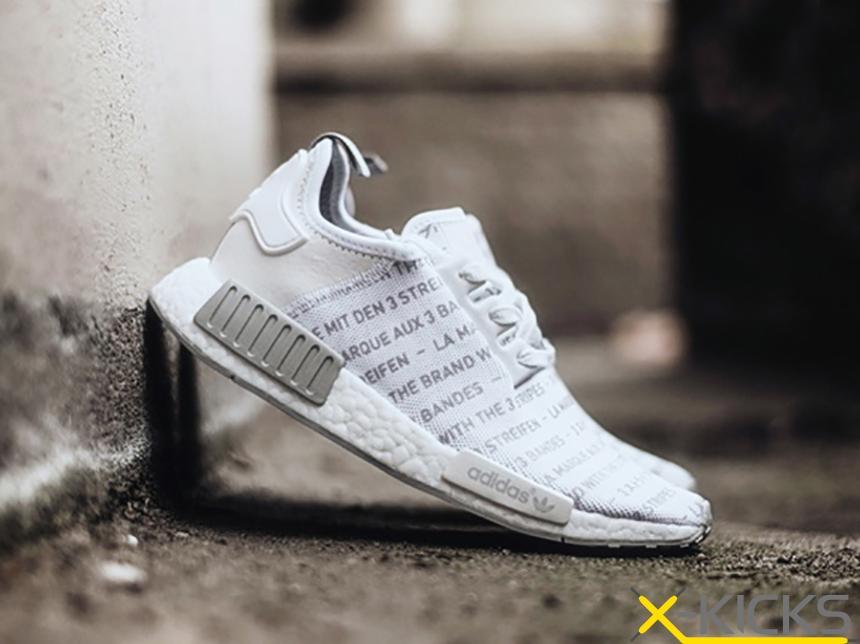 Adidas NMD 黑白灰 文字跑步鞋