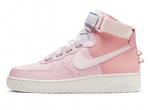 Nike Air Force 1 AF1樱花粉米白高帮板鞋